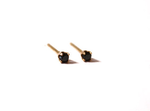 Tiny Black Diamond Stud Earrings (14K yellow gold)