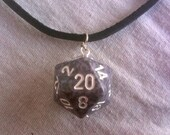 D20 Leather Necklace in Steel