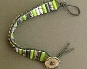 Paper Bead Leather Wrap Bracelet - Upcycled, Recycled, and Eco