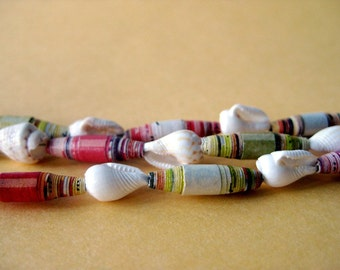 Paper Bead Necklace with Shells - Bright, Beachy, Colorful, Citrus - Upcycled, Recycled and Eco