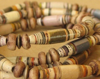 Long Paper Bead Necklace - Blue, Green, and Purple - Recycled Upcycled and Eco - Zuma Beach Necklace