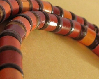 Orange and Red Paper Bead Necklace - Upcycled, Recycled, and Eco
