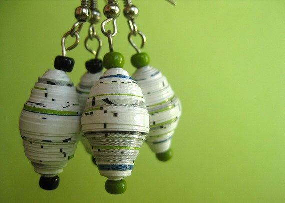 Paper Bead Dangle Earrings - White and Lime Green - Recycled, Upcycled and Eco