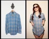 vintage plaid button up shirt unisex s m l small medium large