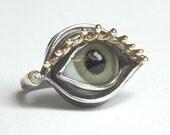 Ring, eye of glass, silver, gold, Zirkonia