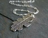 Sterling Silver Oak Leaf Necklace