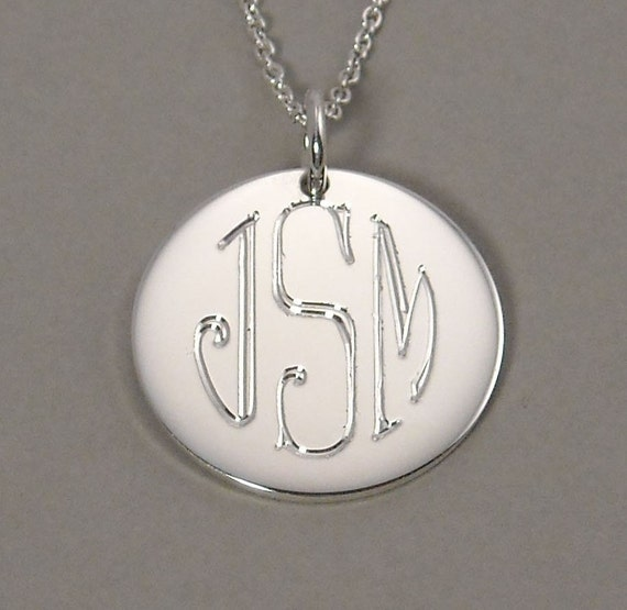 circle monogram engraved initial necklace pendant