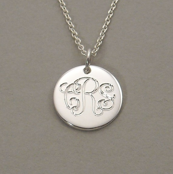 Monogram necklace engraved script triple initial pendant sterling silver 1/2 inch round circle disc UDLOS