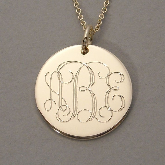 items similar to 14ky gold engraved monogram pendant necklace triple initial charm 3  4 inch