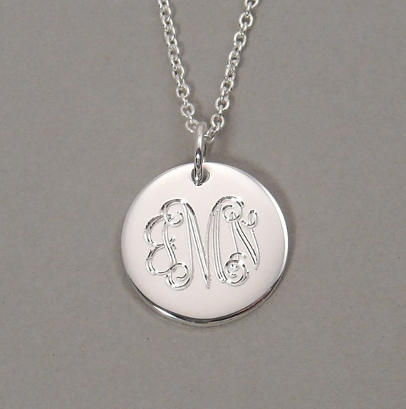 Script monogram necklace pendant triple initial sterling silver charm 1/2 inch round circle disc UTLIS