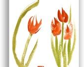 Tulips Flowers Pair, Watercolor Paintings, Zen Painting, Mothers Day, Valentines, birthday, nursery art, zen decor, kitchen, illustration