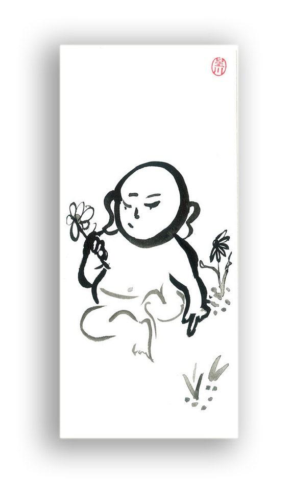 Zen Buddha Baby Buddha Zen Fine Art Sumi Painting Zen Brush, illustration