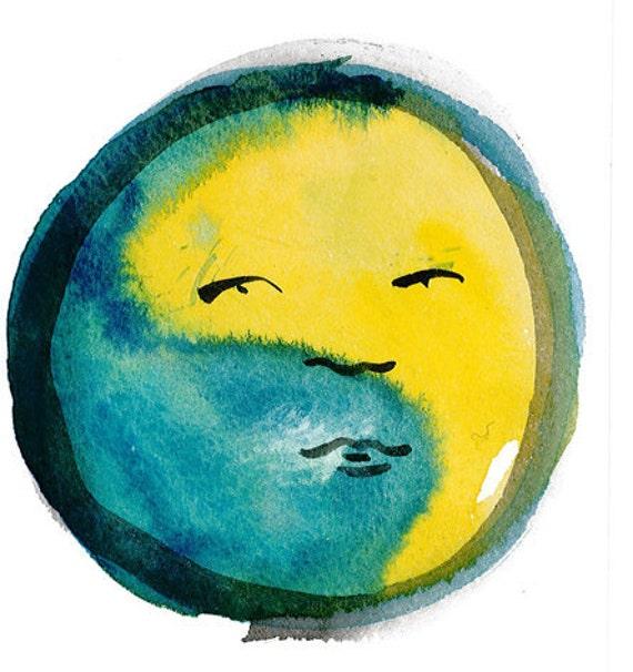 Zen Brush Painting Buddha Sun Face - Moon Face Original Zen Painting
