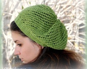 Handknit Green Slouchy mesh beret made of silky bamboo yarn in moss color. Summer Fashion. One size fits most. Handmade in Colorado USA