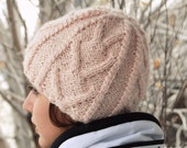 Pastel Fashion. Knit ski beanie. Snowboarding beanie. Chevron hat made of alpaca in peony color. Handmade in Colorado USA