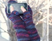 CUSTOM ORDER for Laura. Convertible gloves mittens with flap and thumb opening. Knitted gloves. Texting gloves.  Handmade in Colorado.