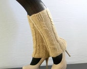Knit leg warmers. Handmade boots cover. Alpaca blend. Gift for her.  Wheat beige. Winter. Spring fashion. Cables ribs stitches