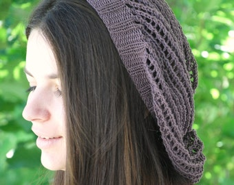 Boho Fashion Slouchy mesh hat made of pure cotton yarn in brown. Adult size beret. Unisex. Handmade in Colorado