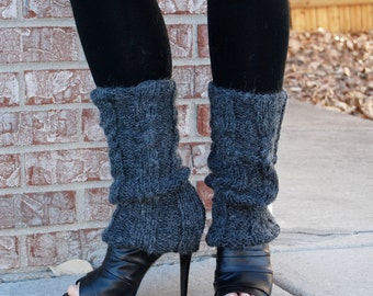 knit leg warmers made of alpaca blend in black. Knit boots cover. Handmade cables and ribs stitches.