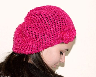 Handmade Hat. Twee beret. Lace Fashion Neon Hot pink hat. Fuchsia Hat. Magenta slouchy mesh hat. Silky bamboo yarn. Crochet flower.