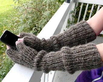 Long handwarmers Handmade of alpaca blend in cinnamon color. Christmas gift for her. Cottage Chic.  Chunky arm warmers. Fingerless gloves.