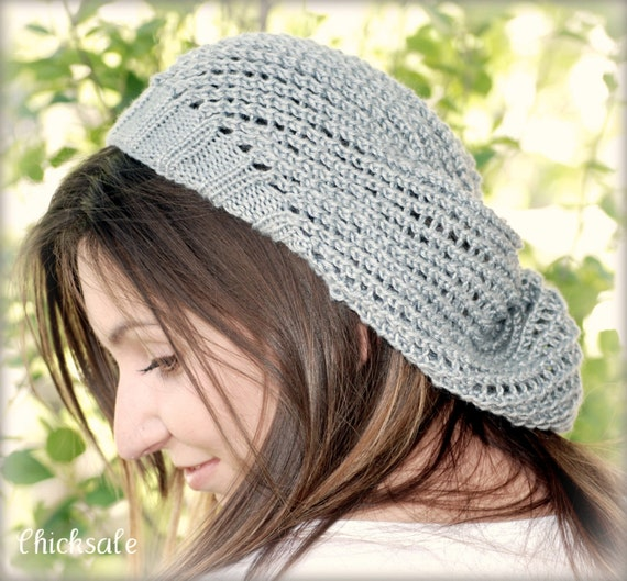 Lace Fashion Eco Fashion Silver slouchy mesh beret  Light weight hat made of silky bamboo yarn. Handmade in Colorado
