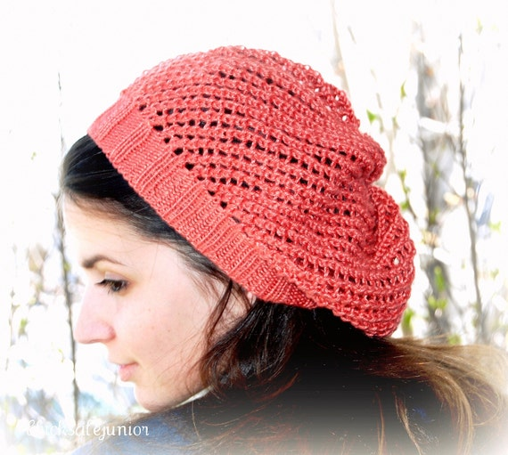 Knit hat Womens hat Summer hat Handmade slouchy beanie Spring fashion Silky bamboo yarn Coral mesh hat. Unisex hat