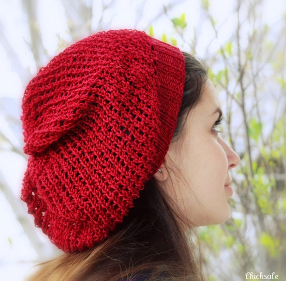 Knit hat. Slouchy beanie. Mesh hat. Christmas gift. Gift for her. Dark Red or pick your color. Boho hat
