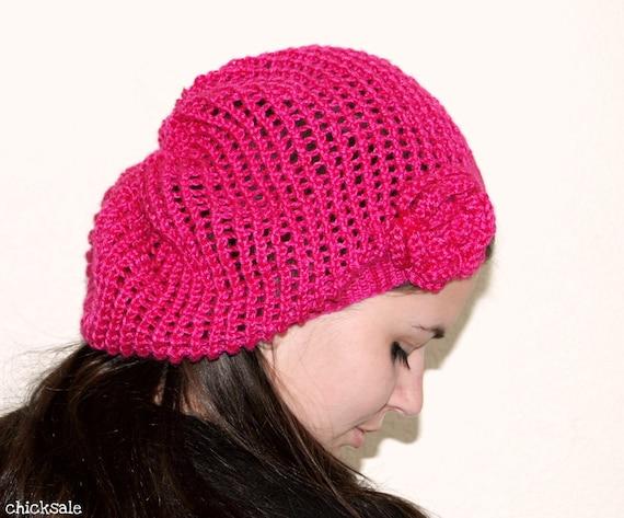 Handmade Hat. Twee beret. Lace Fashion Neon Hot pink hat. Fuchsia Hat. Magenta slouchy mesh hat. Silky bamboo yarn. Crochet flower.
