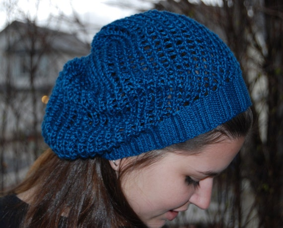 Lace Fashion Beret Eco Friendly Handknit hat. Sapphire slouchy mesh hat made of silky bamboo yarn. One size fits all. Handmade