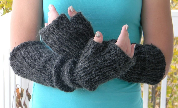 Handmade Christmas Gift. Long handwarmers Mittens made of alpaca blend in black color. Chunky arm warmers. Fingerless gloves. Colorado US