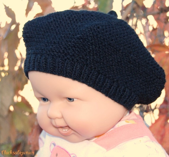 Children Fall Children Clothing Baby beret made of machine washable acrylic in black color 6-12 months. Baby shower gift Handmade