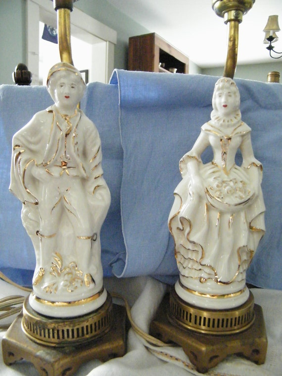 Pair of  White & Gold Porcelain Figural Lamps