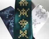 Reserved for Agreschn - Invaders - Silk standard width necktie in six color choices, ready to ship