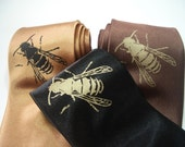 Honey Bee - hand screened silk necktie in three color choices, ready to ship