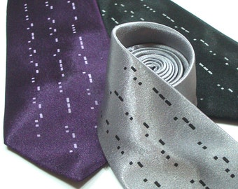 Morse Code Mens Necktie - Premium Quality Microfiber Tie - Gift wrapped - Choose color and quantity