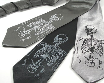 Screen Printed Men's Tie - Skeleton Tie - Premium Quality Microfiber Necktie - Gift Wrapped - Choose color and quantity