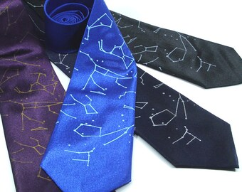 Screen Printed Tie - Constellation Tie - Men's Neck Tie - Premium Quality Microfiber Tie - Gift wrapped - Choose color and quantity