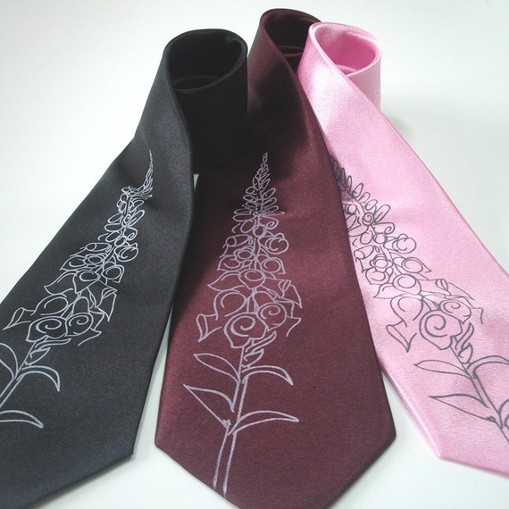 Foxglove - hand screened silk necktie in three color choices, ready to ship