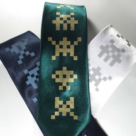 Invaders - Silk standard width necktie in six color choices, ready to ship
