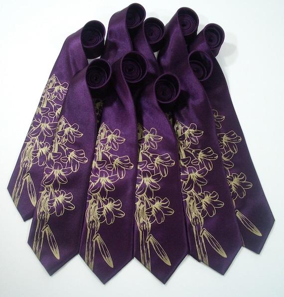 Groomsmen neckties - 9 groomsmen premium quality mens ties - Giant Lily design - Gift Wrapped