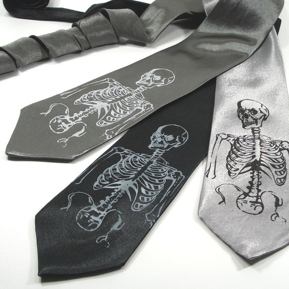 Men's Necktie - Skeleton - Silkscreened Premium Quality Tie - Gift wrapped - Choose color and quantity