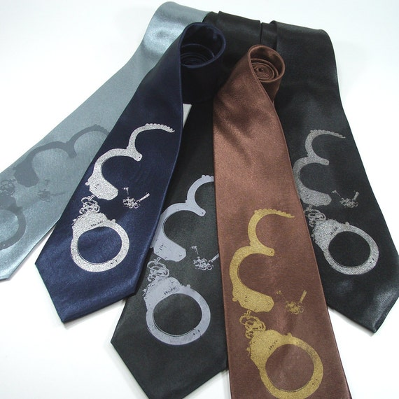 Handcuffs Necktie - Premium Quality Microfiber Tie - Gift wrapped - Choose color and quantity