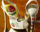 custom order hand painted casino lucky high heel pumps