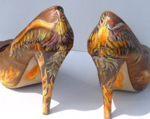 custom order, hand painted, womens shoes, high heel pumps, phoenix rising theme