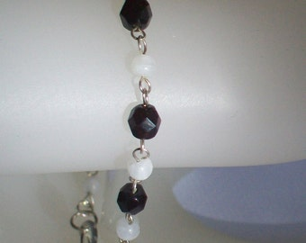 Dark Garnet Red and Moonstone Bracelet