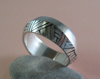 Cross Hatch Band, Sterling Silver