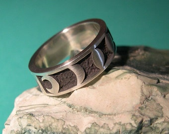 MOONPHASE ring for women and men, sterling silver