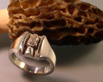 MOREL MUSHROOM RING, Sterling Silver