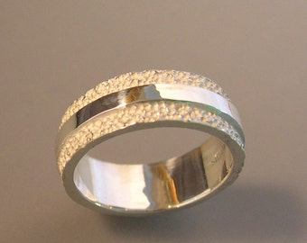 Texture and High Polish Wedding Band, 8mm, Sterling Silver